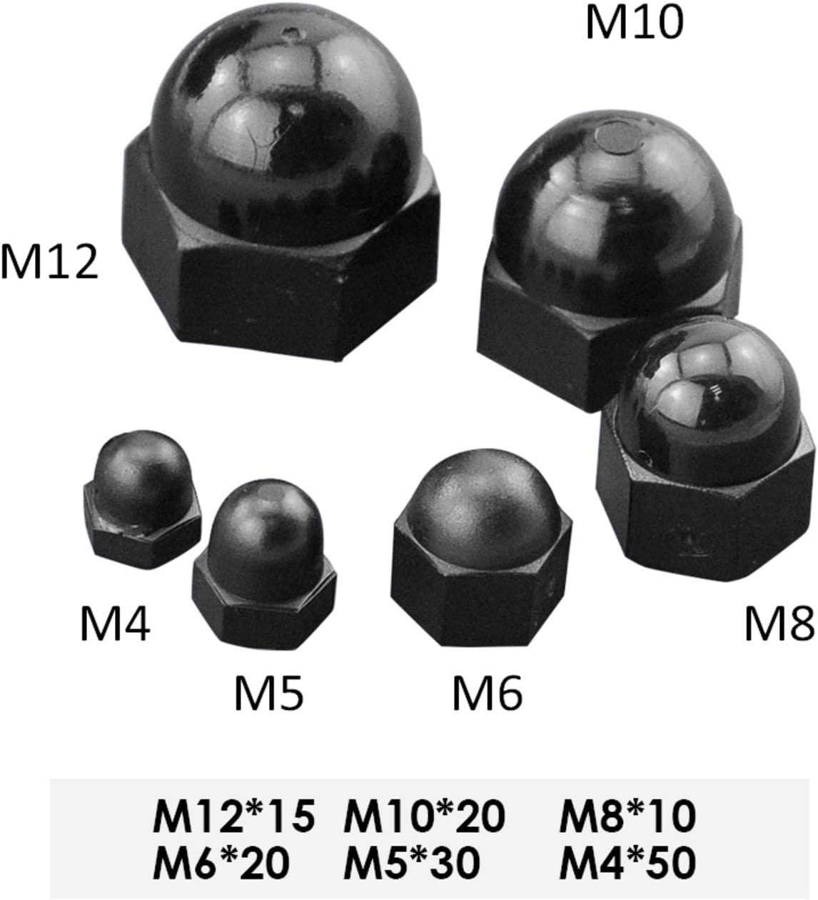 5 x copri dado in plastica nera vite auto M4 M5 M6 M8 M10 M12 M14 M16 M20 M24 M30