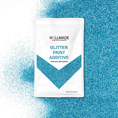 Glitter Paint Additive for Paint-Wall Interior/Exterior, Ceiling, Wood, Metal, Varnish, Dead Flat, DIY Art and Craft 150g/5.3oz + 1PC Free Buffing PAD (Sea Blue) ()