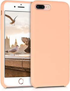 kwmobile TPU Silicone Case Compatible with Apple iPhone 7 Plus / 8 Plus - Soft Flexible Rubber Protective Cover - Peach