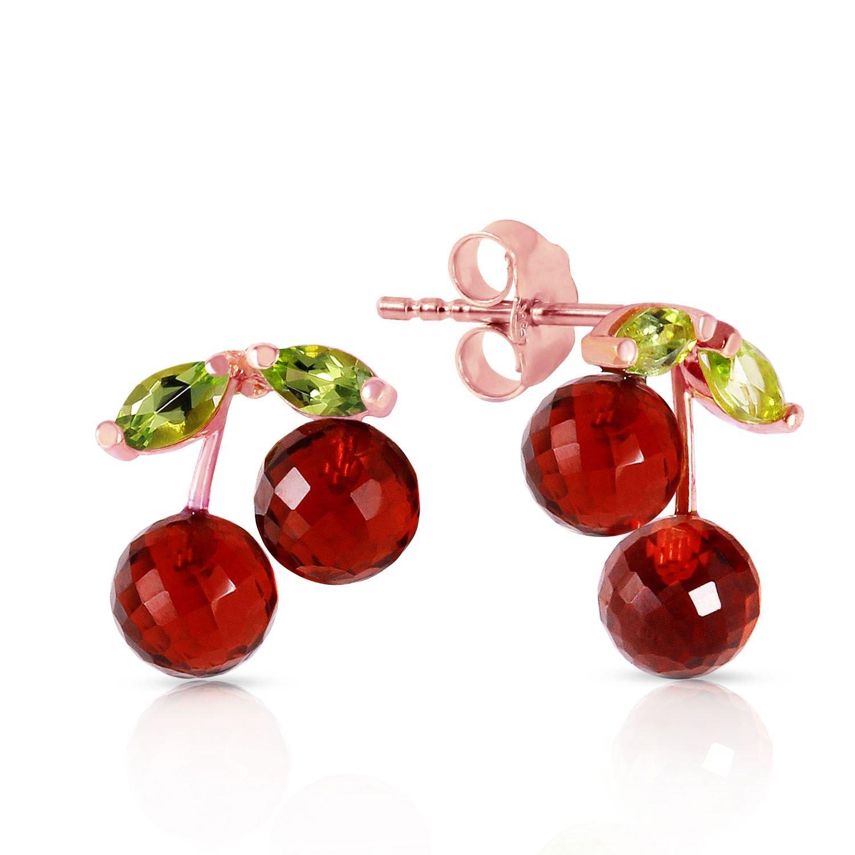ALARRI 14K Solid Rose Gold Earrings w// Garnets /& Peridots