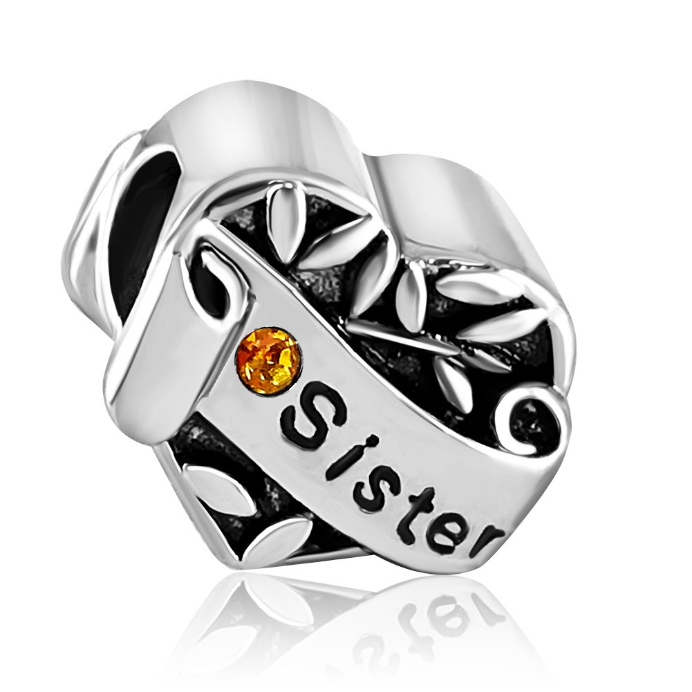 JMQJewelry Sister Love Heart Birthstone Crystal Rhinestone Charms Beads for Bracelets JMQA004-11