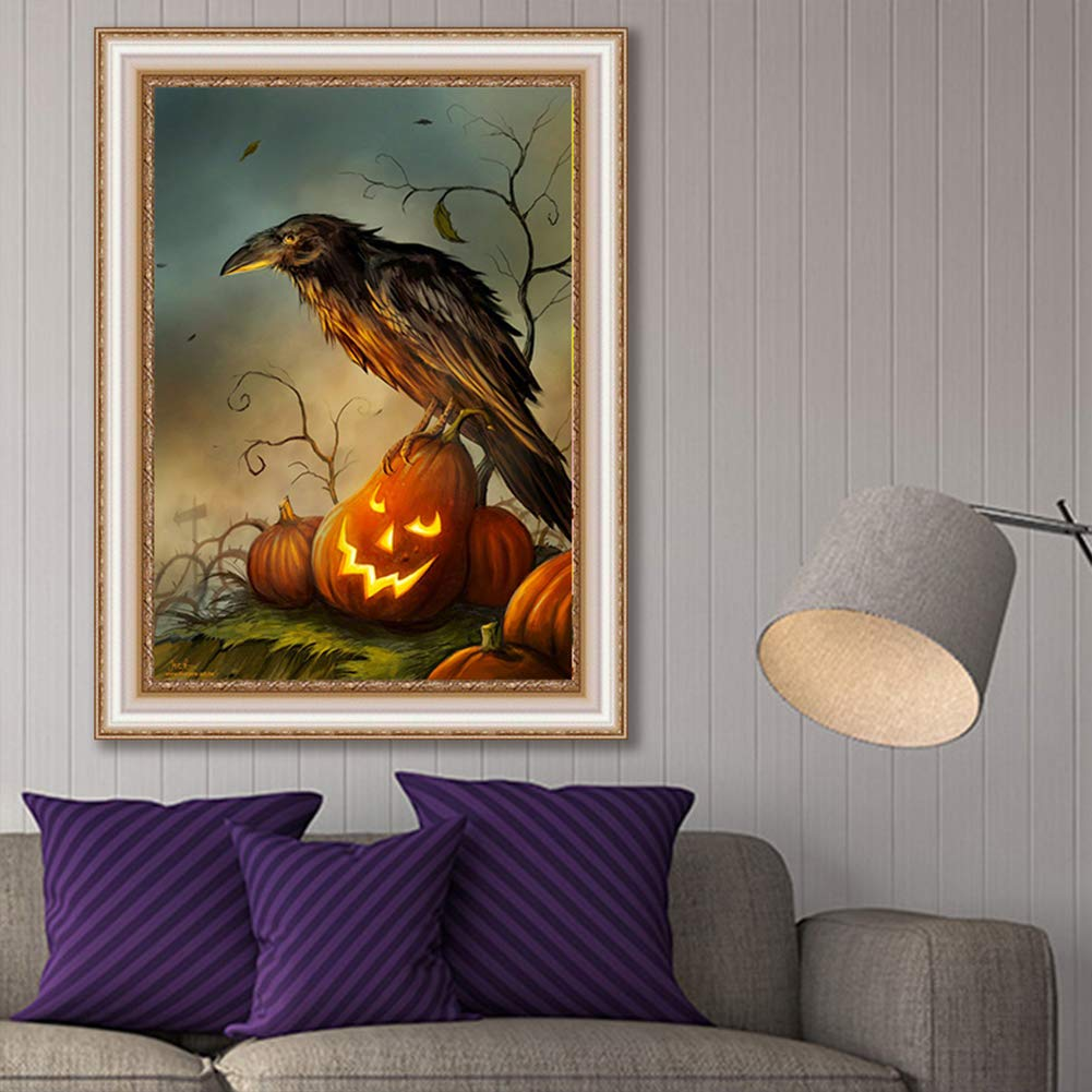 Full-drilled Crow Cross-Stitch Art Craft Wall Decoration,16X12 inches AiEllen DIY Diamond Painting by Numbered kit