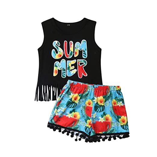 Mother & Kids Girl Summer Cool Clothing Set Toddler Kid Baby Girl Clothes Tassels Print Watermelon Tank Top Short Outfit Set 1-5t