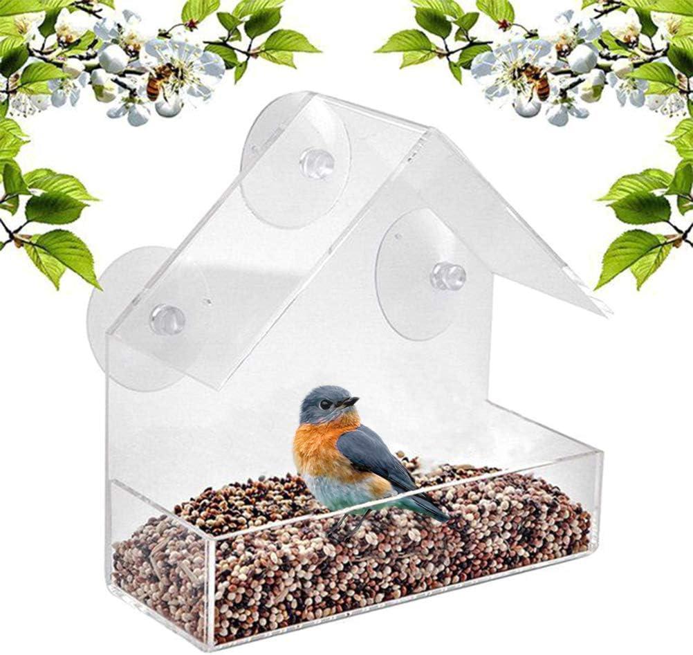WINBST Dispensador de alimento para pájaros de Ventana con ventosas Transparente Alimentador de pájaros de Ventana Transparente para Colgar