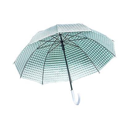 Paraguas Hombres y Mujeres Paraguas Ambiental Transparente Más grueso Pequeño mango largo fresco Gran Paraguas Transparente