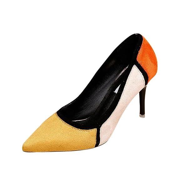 Liquidación de la venta! Tacones de mujer Covermason Primavera Casual zapatos de punta estrecha Flock Patchwork Zapatos de tacón alto(35 EU, ...