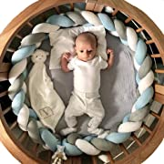 Soft Knot Pillow Decorative Baby Bedding Sheets Braided Crib Bumper Knot Pillow Cushion (White+Gray+Blue, 78.7 inch)