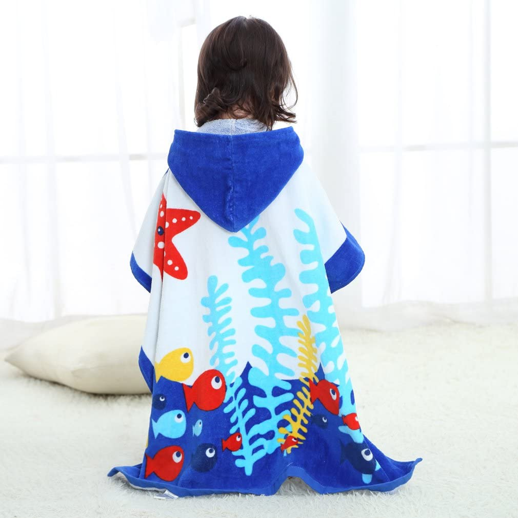 COOKY.D Unisex Baby Poncho Bath Towel Hooded Robe for 0-6 Years 70 x 70 cm