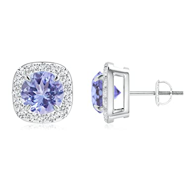 Angara Claw-Set Natural Tanzanite and Diamond Halo Stud Earrings in Platinum IM8g44I5Ef