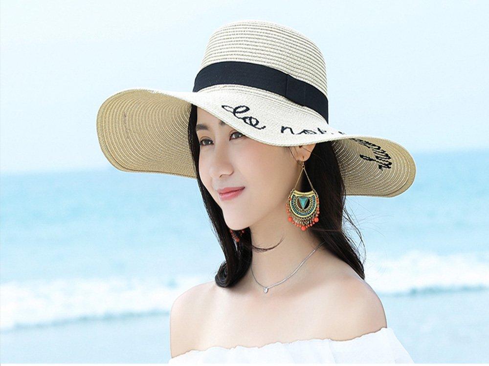 Sombrero de Paja Ajustable para Mujeres con Los Bordados Frases Do Not  Disturb de Ala Ancha Ampliar imagen 7e399285631