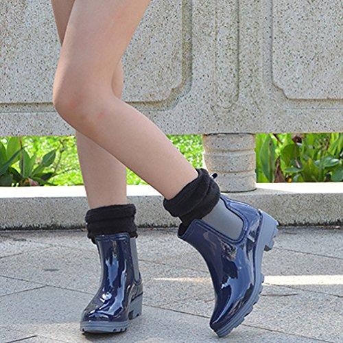 LvRao Mujeres Lluvia Nieve Zapatos Impermeables Boots de Goma Botines Cálido de Jardín Azul con Calcetines