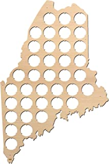 product image for All States Beer Cap Map Maine – 10,6x16 inches – 37 caps – Maine Beer Cap Holder – Birch Plywood