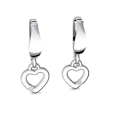 Sonderkauf bester Wert fantastische Einsparungen Herz-Ohrringe Silber 925 hängend Zirkonia Stein GRATIS ETUI ...