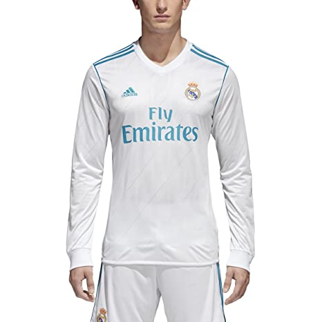adidas Camiseta de Fútbol Real Madrid Home Jersey de Manga Larga, Blanco