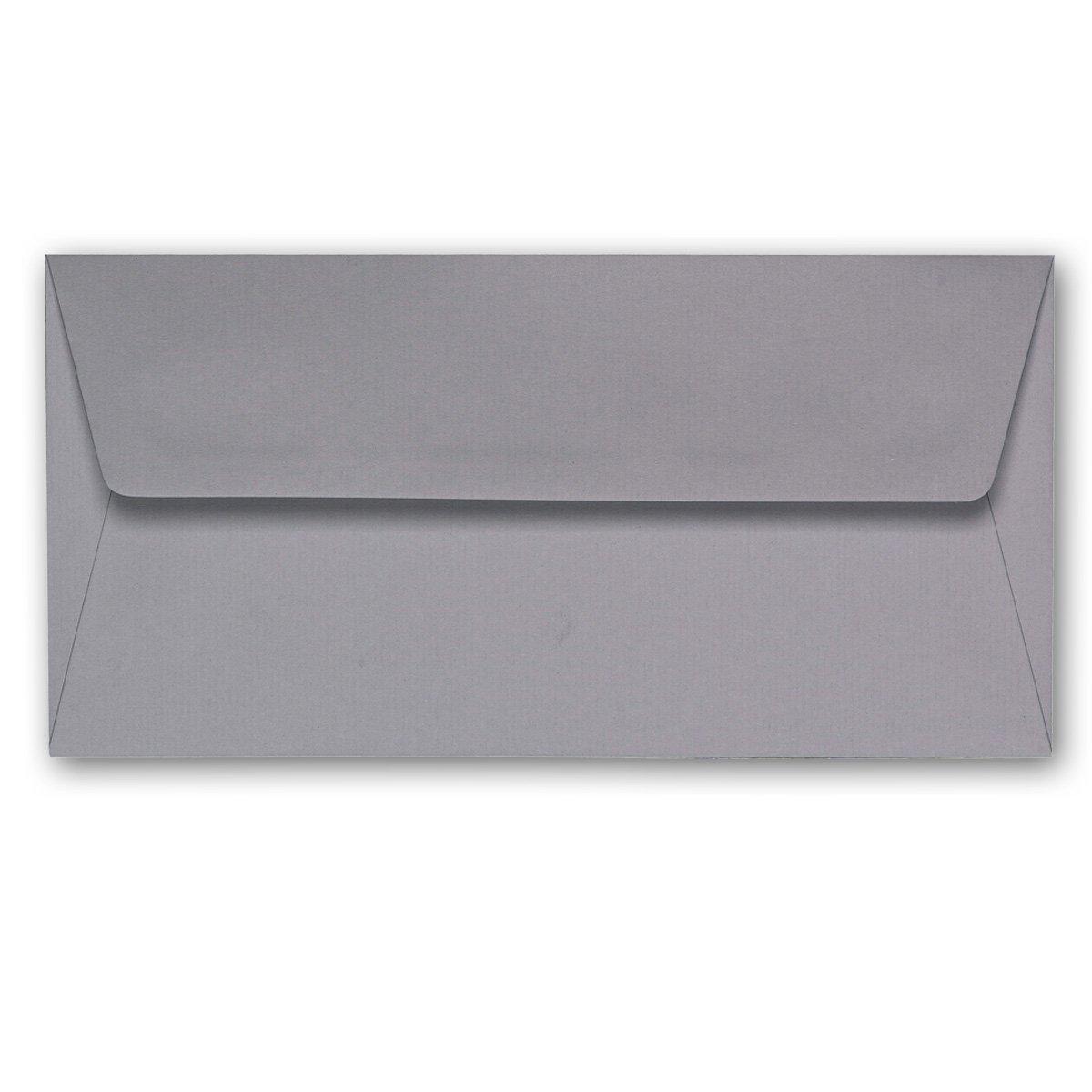 ARTOZ 200x Briefumschläge DIN Lang Graphit 100 g m² SEIDENFUTTER - (DL C5 C6) 220 x 110 mm - KuGrün ohne Fenster - Umschläge Nassklebung mit Gummierung