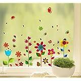 Decals Design 'Colorful Fun Flowers' Wall Sticker (PVC Vinyl, 70 cm x 50 cm),Multicolour