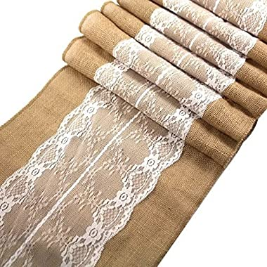 Ling's Bridal 12 x108  Burlap Lace Hessian Table Runner Jute Wedding Party Table Decoration (5)