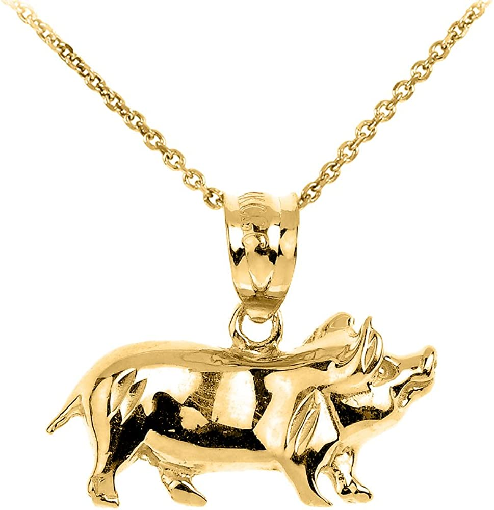 14k Yellow Gold 12 Animal Star Pendant Charm