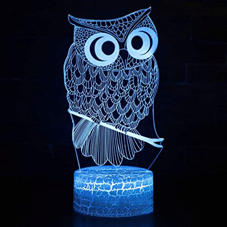 OSALADI Owl Lámpara de ilusión 3D Elstey Night Light BedRoom ...