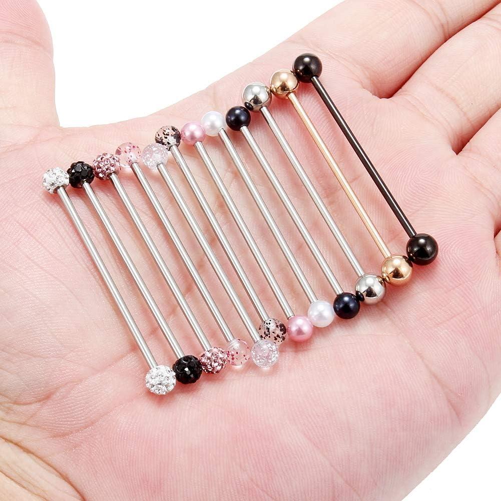 Ruifan 6-12PCS 14 Gauge Industrial Barbell Cartilage Earring Body Piercing Jewelry 35mm 38mm 40mm