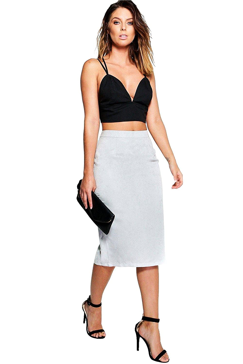 Grey Womens Iona Soft Suedette Midi Skirt