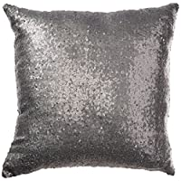 Elegante y cómodo color liso lentejuelas funda de cojín Throw Pillow Case Cafe Decor (Gris)