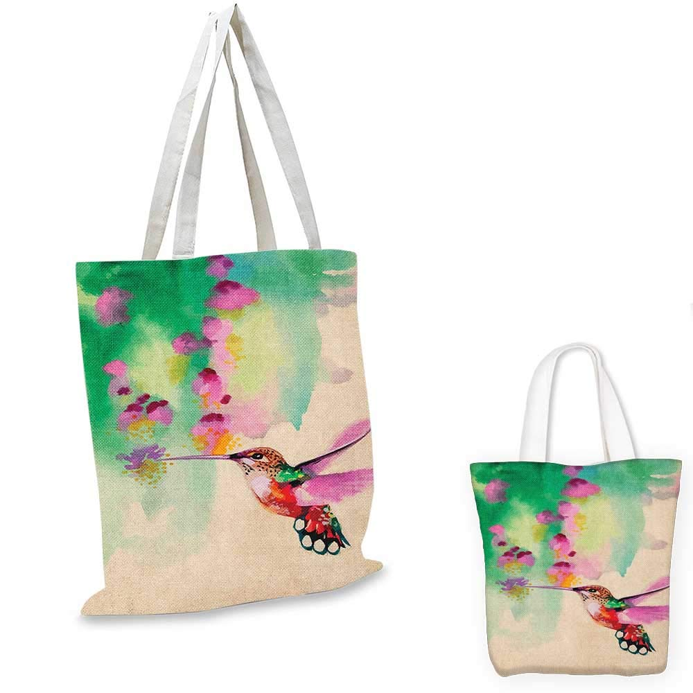 16x18-13 Hummingbird canvas messenger bag Art with Lily Flowers Birds and Color Splashes in Watercolor Painting Style canvas beach bag Orange Blue
