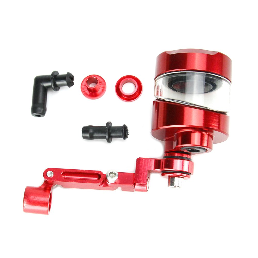 Oumurs Motorcycle Brake Clutch Cylinder Fluid Reservoir Oil Cup with Mounting Bracket Set CNC Machined Aluminum Universal for Honda Yamaha Suzuki Harley Ducati CBR GSXR YZF (Red) by Oumurs