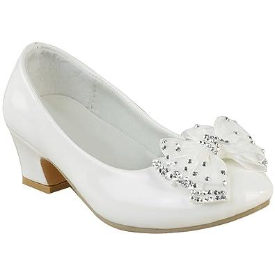 0c5192f9780d9d Sandales pour fille - petit talon/noeud avec diamants - mariage - enfant:  Amazon.fr: Chaussures et Sacs