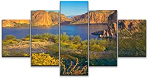 XEPPO 5 Panels Wall Art Print On Canvas Rocky Cliffs and Shores of Arizona in Spring Modern Abstract Picture Poster for Home Decor Stretched and Framed Ready to Hang (60''Wx32''H)