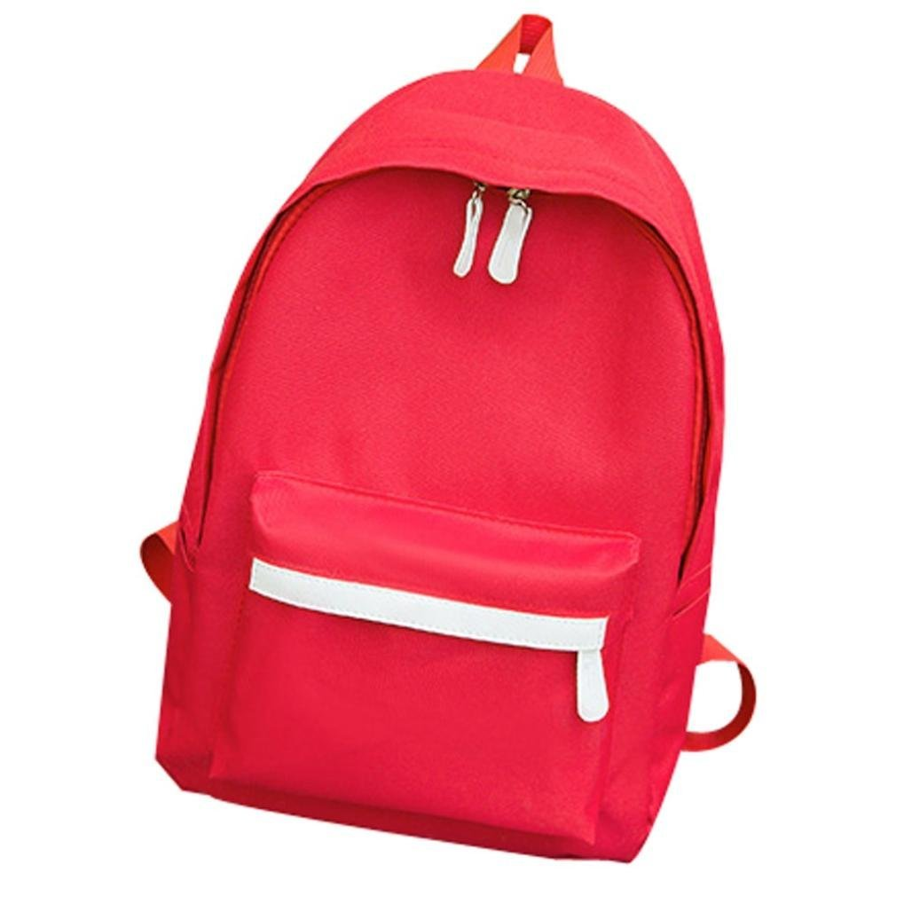 Aobiny Backpack Canvas Monochrome Backpack for Students (Red)
