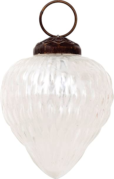 Christmas Tablescape Decor - Luna Bazaar Vintage-Style Melina Design Small Pearl White Mercury Glass Christmas Ornament