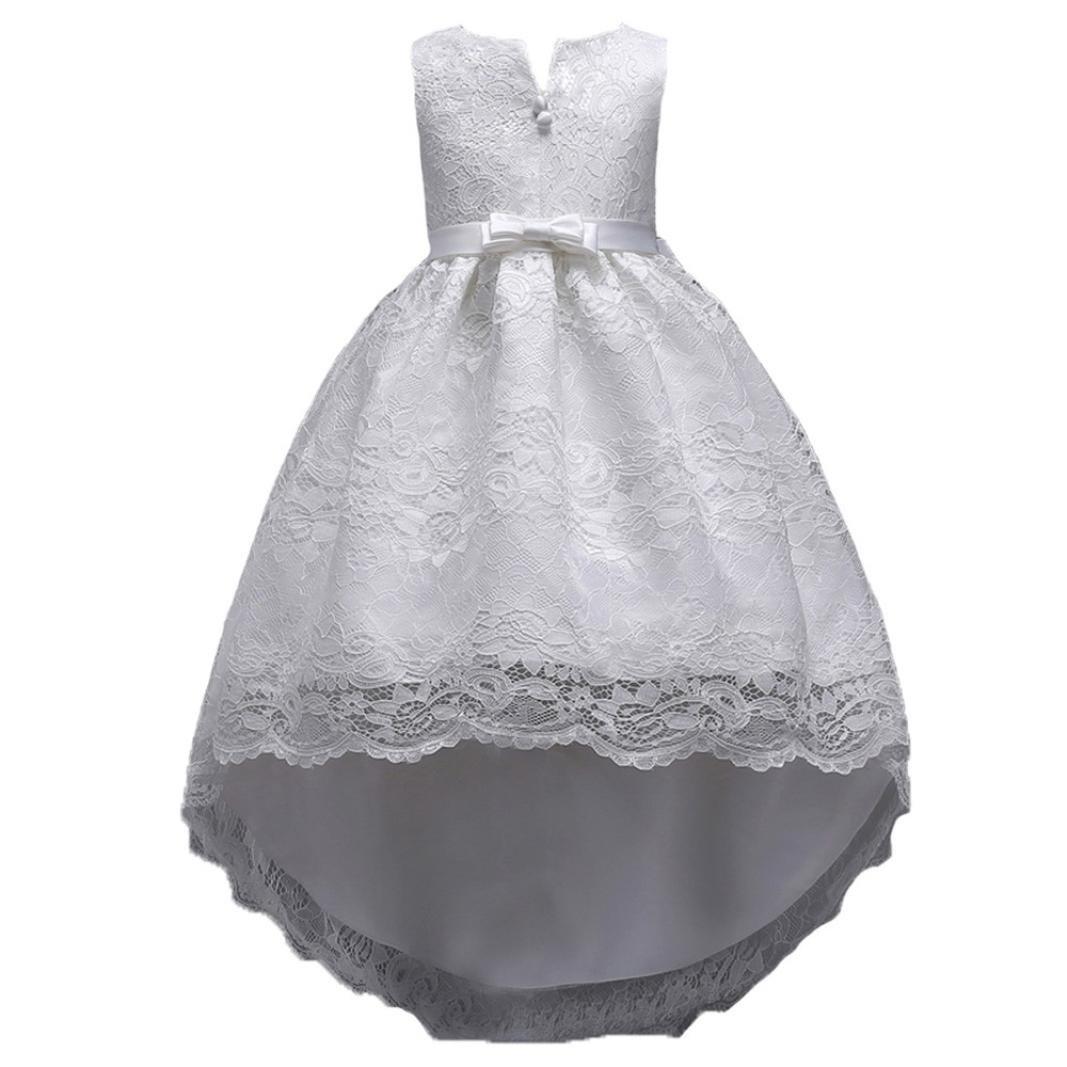SMALLE◕‿◕ Clearance,Children Kid Infant Girls Bowknot Lace Zip Pageant Wedding Princess Tutu Dress