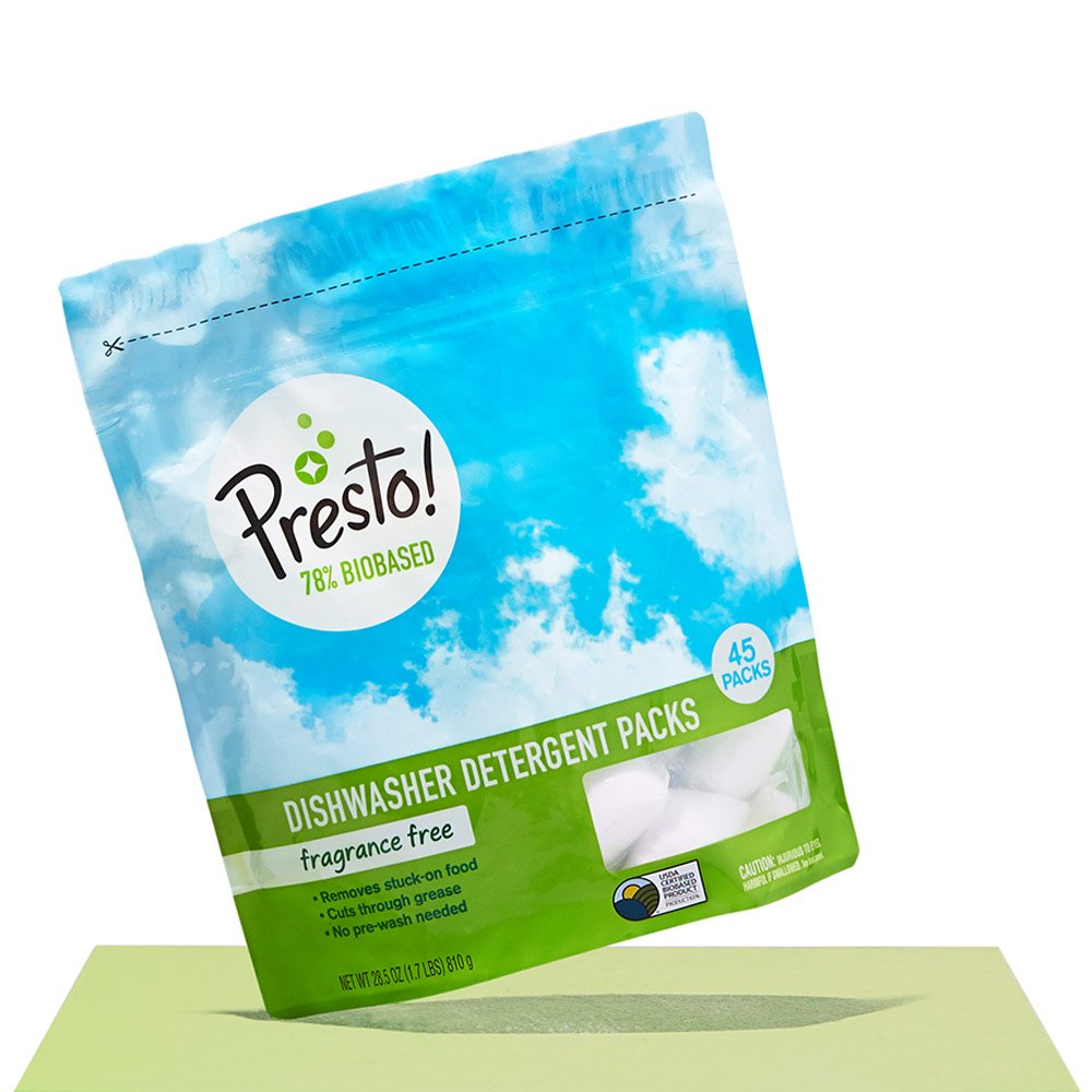 Amazon Brand - Presto! 78% Biobased Dishwasher Detergent Packs, 90 count, Fragrance Free (2 pack, 45 ct each) Amazon Fulfillment Services Inc.