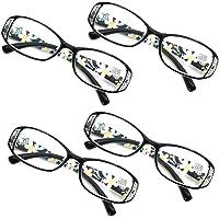 Jangona 4 Paquete Mujer Gafas de Lectura Gafas Los Anteojos Fotograma Completo Cómodo Ordenador Personal Lente Hermoso Patrón para Lector 1.0 1.5 2.0 2.5 3.0 3.5 4.0 4.5 5.0 5.5 6.0