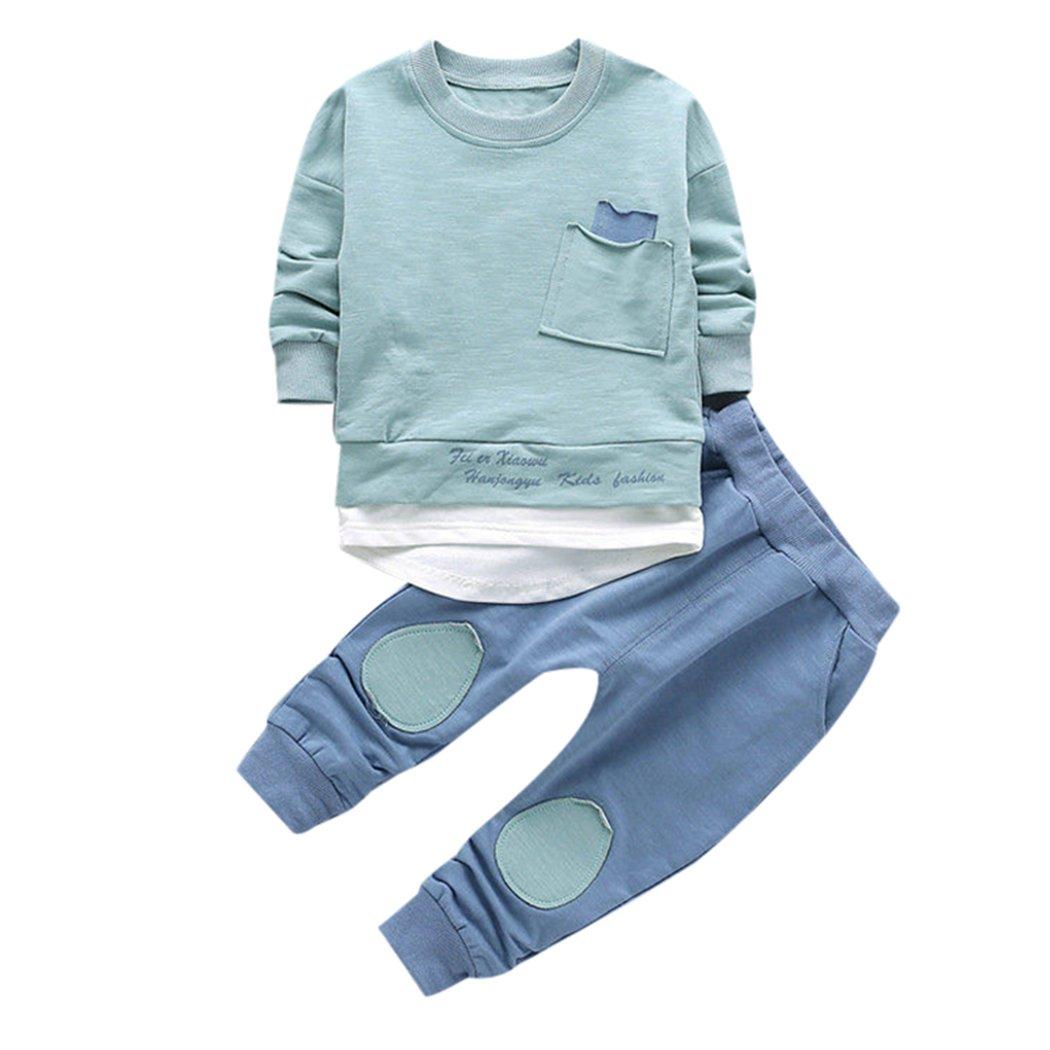 2pcs Infant Baby GIrls Boys Korean Outfits Long Sleeve Shirt Tops+Pants Clothes