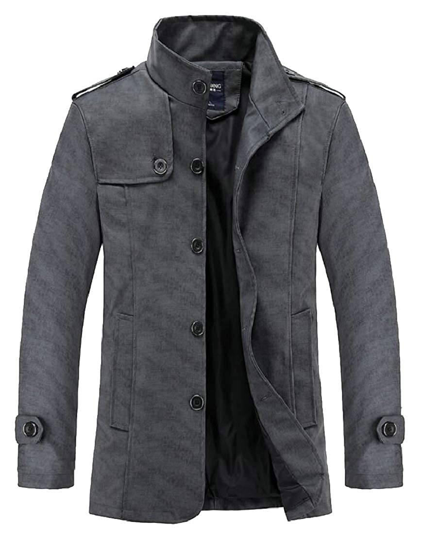 Dark Grey Mens Faux Fur Lined Single Breasted FauxLeather PU Winter Thicken Jacket