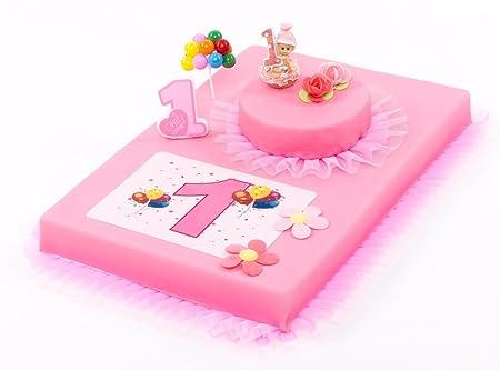 Decoración para Tartas Primer Cumpleaños Niña 8 Piezas Tarta ...