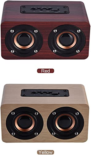 Wooden Combination Speaker Wireless Bluetooth 4.2 Speaker, Stereo Loudspeakers with 2 Horn, Portable Mini Multimedia Music Speakers with Superior Sound Quality Red Wood
