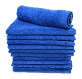 Goza Towels Luxury Cotton Wash Cloths (12 Pack) Easy Care, Fingertip Towels, Facial Towelettes, Cotton Hand Towels (Royal Blue, 12x12)
