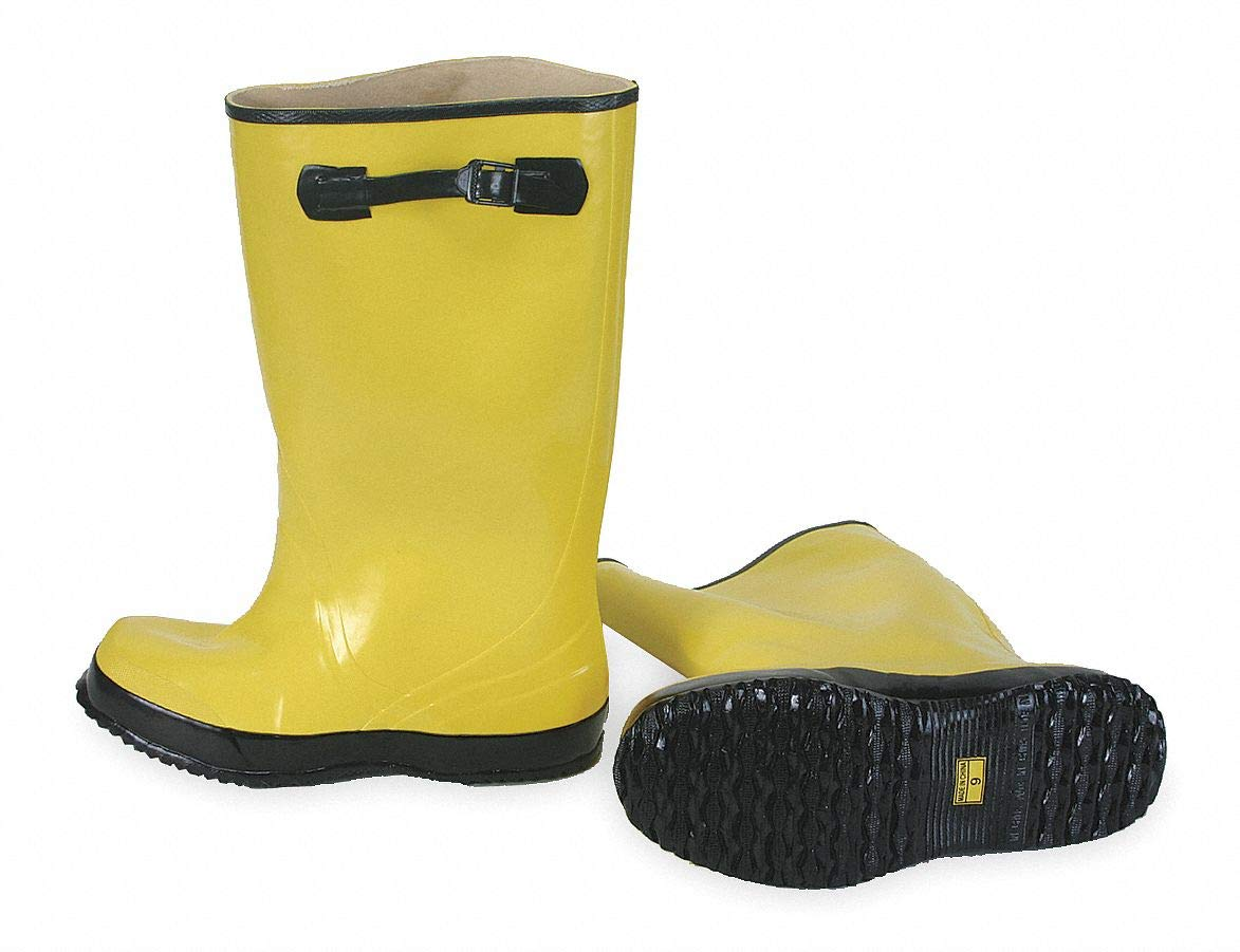 17''H Men x27;s Overboots, Plain Toe Type, Rubber Upper Material, Yellow/Black, Fits Shoe Size 8