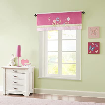 Mi Zone Spring Bloom Printed And Applique Embroidered Kids Valances For  Windows, Girls Valance