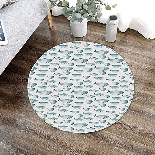 TecBillion Apartment Decor Water Absorption Non Slip Mat,Cute Regular Different Sized Japanese Fish Patterns Ocean Marine Underwater Theme for Corridor Study Room Bathroom,23.62