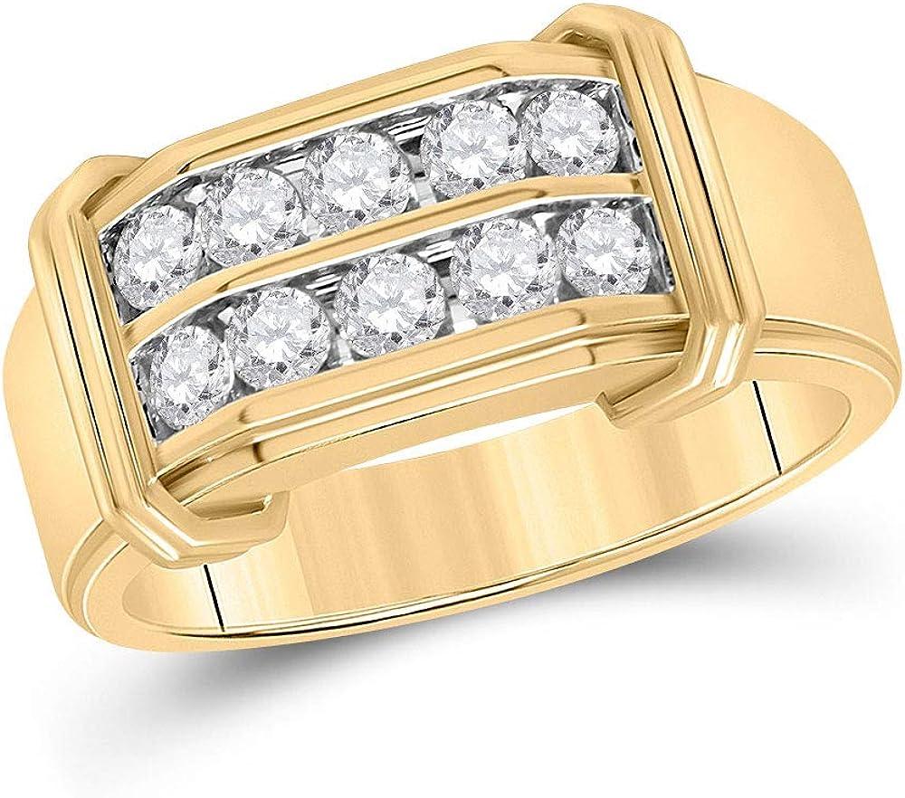Diamond2Deal - Anillo de doble fila de oro amarillo de 10 quilates con diamante redondo para hombres 7/8 quilates