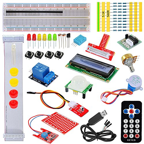 Tolako Starter Kit for Raspberry Pi 3, 2 & Model B+ T GPIO Extension Board, PL2303, Step Motor, Breadboard, Dot Matrix Display, Remote Control