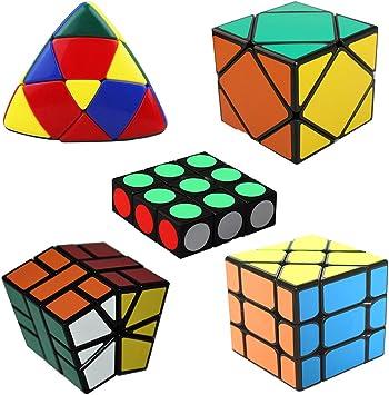 MSZtech Cubo mágico Juego de 5 Pack Incluye 1x3x3 + Cuadrado 1 + Skewb + Mastermorphix + Fisher Cube: Amazon.es: Juguetes y juegos