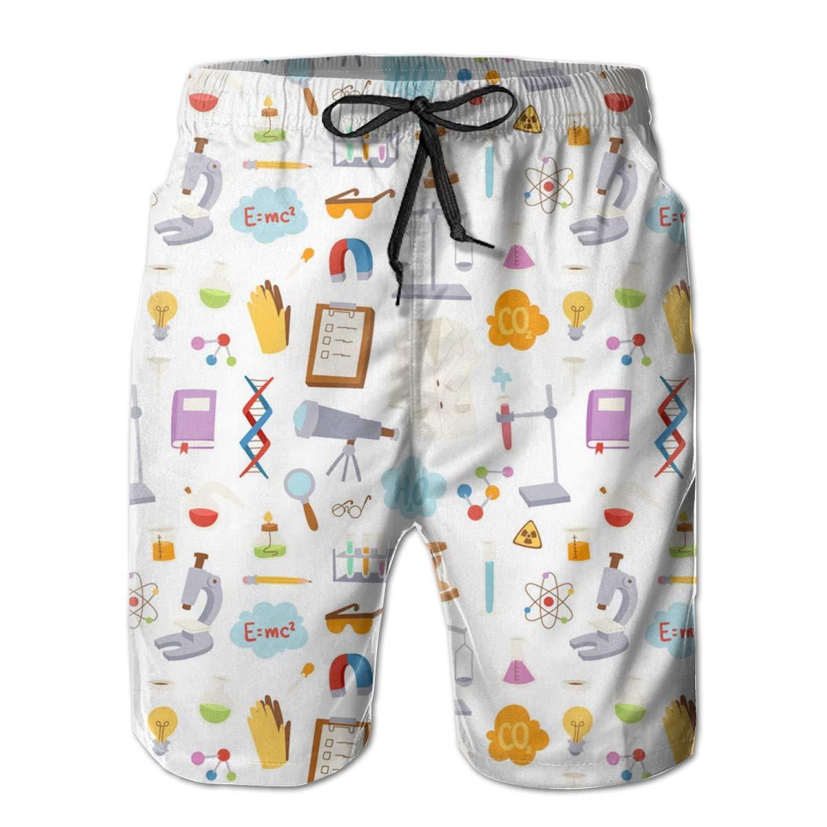 Swim Trunks Boardshorts for Men Fancy Illusion Science Chemical Funny Boy Mens Shorts