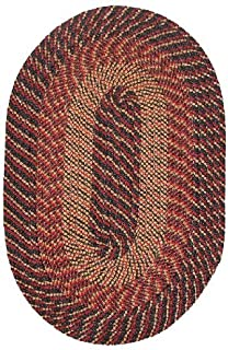 "product image for Plymouth 5' 6"" x 8' 6"" (66"" x 102"") Oval Braided Rug in Black Red Gold Made in New England"