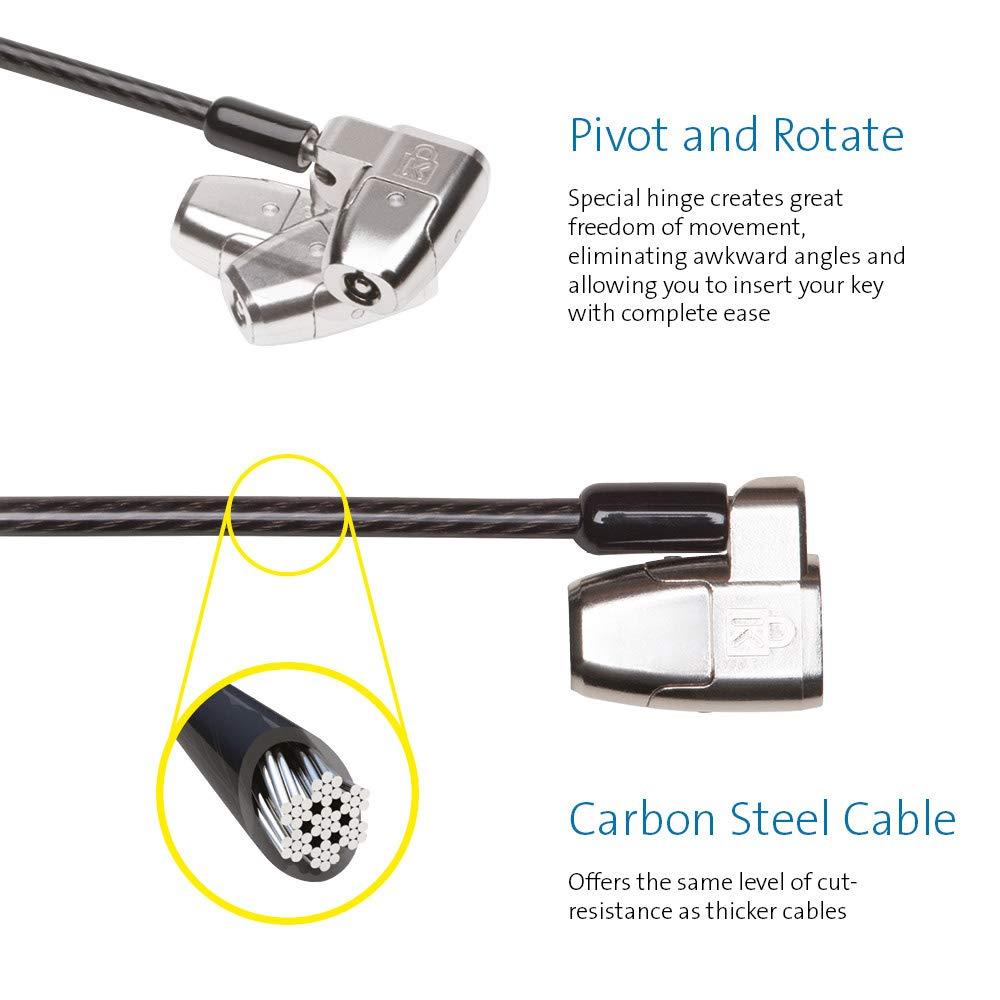 Kensington K64435WW Candado Clicksafe 2.0 de para Port/átiles con Llave y Cable de Acero al Carbono Pivote y Giro de 1,8 m de Longitud