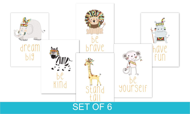 Set Of 3 Nursery prints Tribal Indian Prints A4 Size Wall prints